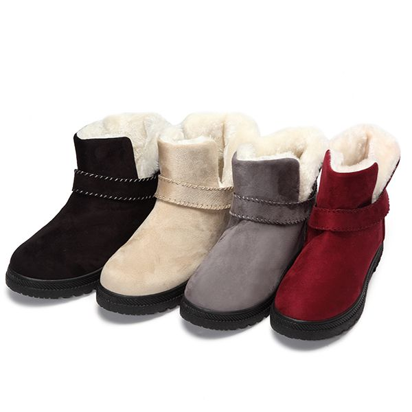 US Size 5-12 Fur Lining Snow Ankle Short Boots Round Toe Soft Winter Boots