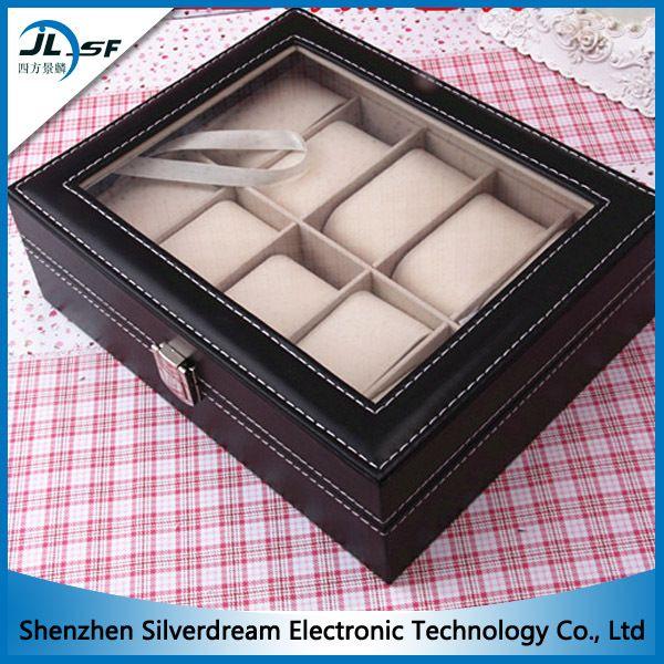 Модные часы дисплей коробки 10 сетки смотреть ящик кожа корпус часов подушка оптовая