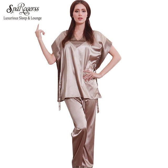 SpaRogerss Hot Fashion Women Pajamas Summer 2017 Brand Ladies Satin Pijama Short Sleeve Silk Pajamas Sets Pyjamas Women 10167