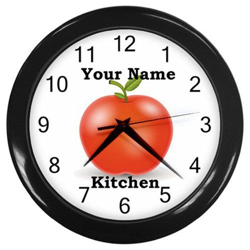 Personalized+Red+Apple+Black+Frame+Kitchen+Wall+Clock