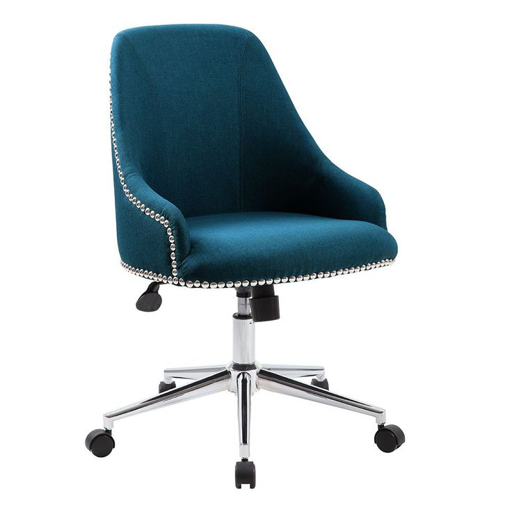 Retro Office Chair in Fabric with Nailhead Trim // The Contour task chair is beautifully upholstered in rich jewel tones, with a clean, comfortable design that you will appreciate from the second you enter your work space.
