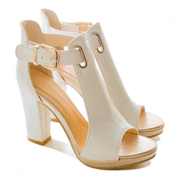 Simple Buckle and Chunky Heel Design Sandals For Women, WHITE, 39 in Sandals | DressLily.com