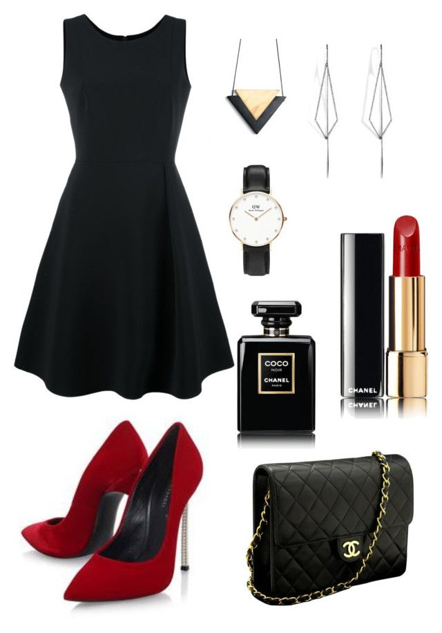 """Black Formal Women Fashion"" by saffaatun on Polyvore featuring Emporio Armani, Casadei, Chanel, Daniel Wellington and Diane Kordas"