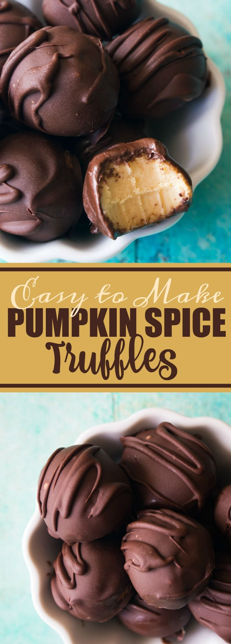 Pumpkin Spice Truffles! Smooth, creamy pumpkin spice ganache truffles coated with chocolate. Easy to make and only 5 ingredients!