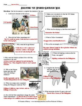 This activity features 10 fantastic primary sources from the Spanish American War that students analyze using questions organized onto a timeline. The documents include cartoons, newspapers, lithographs, maps, and pictures all related to each aspect of the war.