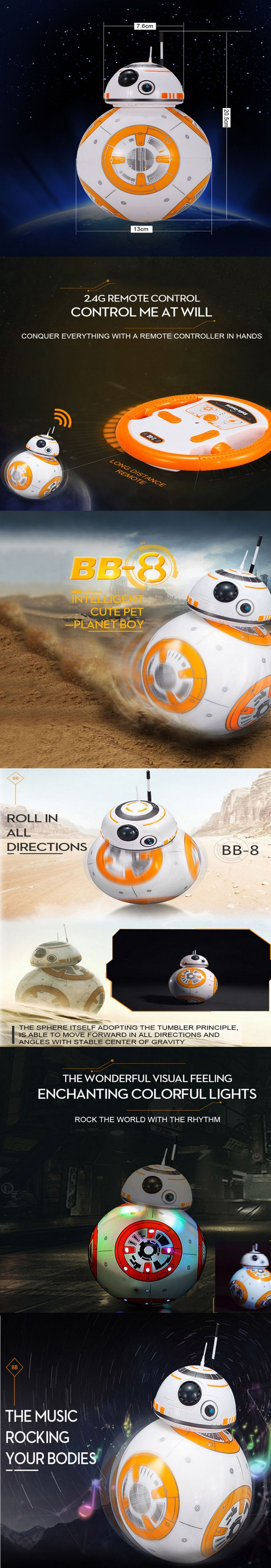 2.4GHz remote control system 360° rotation form Magnetic suspension structure Restore the movie sound effect Cool light effect The head keeps on the above of the big globe  Specifications:  Name: BB-8 Planet Boy Robot Control range: About 5-10m Size : About 20.5 * 13cm Remote controller battery: 2 * AA battery (not included) Body battery: 4 * AA battery (not included) Age level: Above 6 years old Weight: About 481g