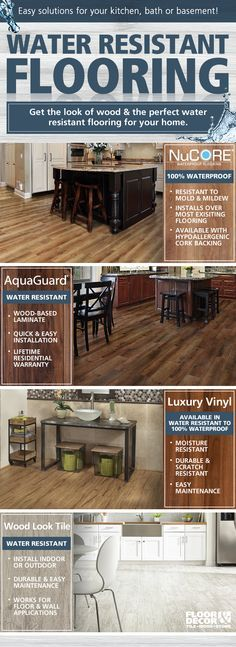 Easy water resistant flooring solutions for your kitchen, basement, or bath!