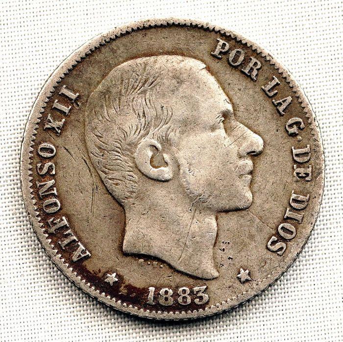 Spanje - Alfonso XII - 20 cent voor een peso in zilver - 1883 - Manilla  ALFONSO XII - 20 cent voor een peso 1883 - Manilla zilver: 5 g. Minted voor het verkeer in de Filippijnen. Schaarse jaar. Patina  EUR 6.00  Meer informatie
