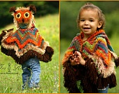 Acorn Owl Poncho with Hood - size 2 to 4 years - Made to ORDER