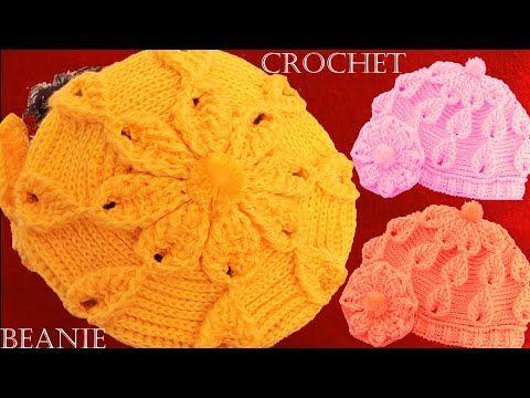 Como tejer a crochet o ganchillo gorro boina en punto de hojas y flores en alto relieve | tamborējumi-raksti | Postila