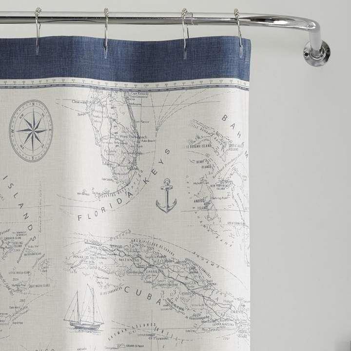 Tommy Bahama Home Caribbean Sea Cotton Single Shower Curtain