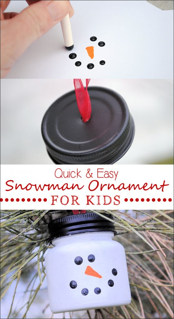 Make this easy diy snowman ornaments for Christmas. A great snowman ornament for kids to make-easy to do using baby food jar and acrylic paint.