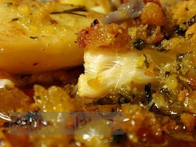 'Bacalhau com Broa e Chouriço', the kind of dish you will not forget! Cod accompanied by crunchy cornbread and chorizo. So good! :D