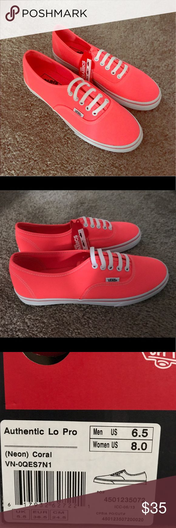 New With Tags Coral Vans size 8 NWT Coral Lo Pro Vans size 8! Never been worn, includes original box Vans Shoes Sneakers