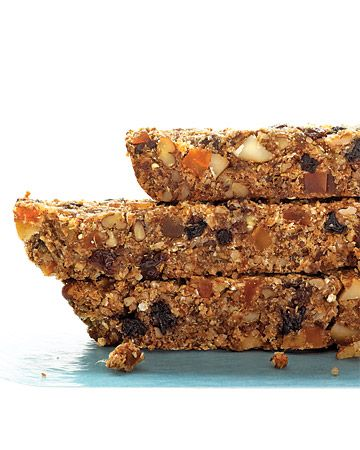 Dried-Fruit and Nut Health Bars: Oats bring a pleasant chewiness and an old-fashioned goodness to these nutrient-dense bars. Pureed dates lend just enough sweetness to this convenient breakfast or snack. Nuts, ground flax, and dried fruits add antioxidants, vitamins, good fats, and flavor.