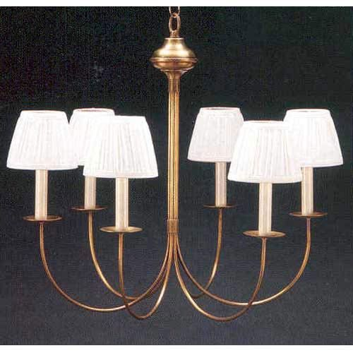 Antique Brass Six Light J Arm Chandelier With Shades Northeast Lantern Candles W/ 6 Or 7 S