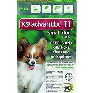 K9 Advantix II Flea & Tick Treatment for Small Dogs, 4-10 lbs, 6 treatments