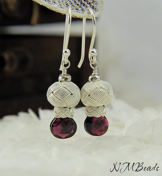 Pure Silver Knotted Tiny Ball Drop Earrings With Garnet by NMBeadsJewelry