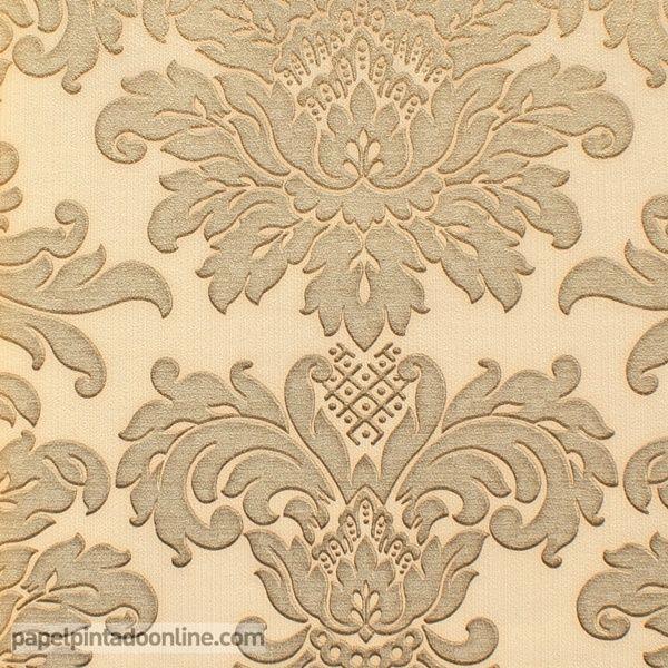 Papel Pintado Damask 110A, papel con medallones en color beige/champán con bordes difuminados en dorado sobre fondo beige.