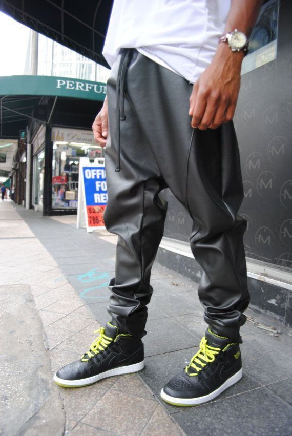 Black Leather Drop Crotch Joggers Sweatpants / Stash by GAGTHREADS
