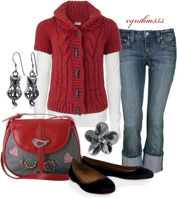 """Cute Lil Sweater"" by cynthia335 on Polyvore: Red Sweaters, Cute Fall Outfits, Fall Wardrobes, Dreams Closet, Fashion Outfits, Red White Blue, Lil Sweaters, Outfits Ideas, Style Outfits"