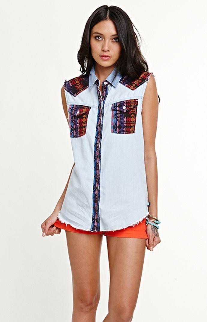 Kendall & Kylie Sleeveless Fabric Mixed Shirt #pacsun #kandk4pacsun