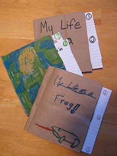 Frog life cycle writing using Brown Bag Books