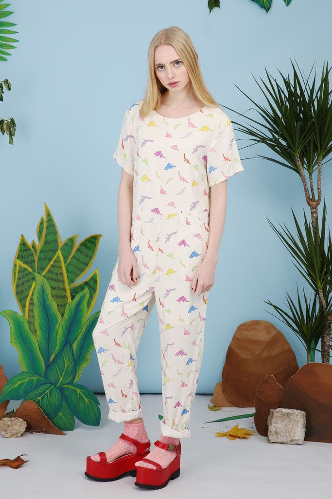 Dinosaur Print Jumpsuit Multicolour