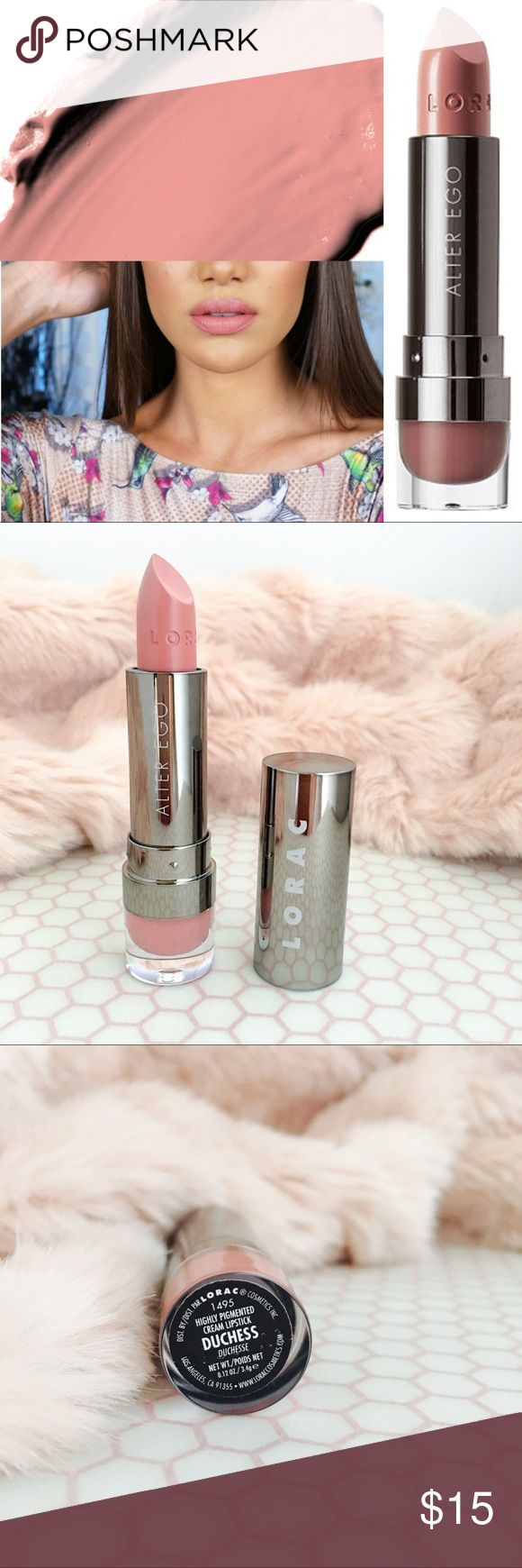 💋 LORAC Alter Ego Lipstick - Duchess (Rosy Nude) Matte Alter Ego Lipstick - Duchess (Rosy Nude) Instantly transform your look this sexy, playful lipstick. Alter Ego coats your lips in highly-pigmented color with an opaque, matte finish. Alter Ego Lipstick contains antioxidants such as acai berry, pomegranate, grape seed extract, and vitamins C and E. Dress up your lips with LORAC. Lorac Makeup Lipstick
