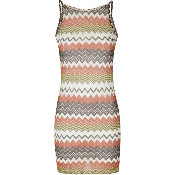 Glamorous Tan And Silver Zig Zag Stripe Cami Dress ($31) ❤ liked on Polyvore featuring dresses, multi, bodycon party dresses, party dresses, silver cami, cami dress and night out dresses