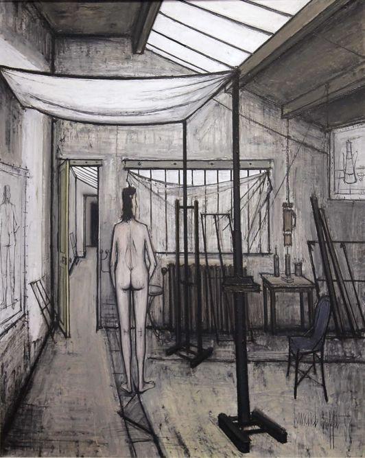 Modèle dans l'Atelier (L'Atelier) / Bernard Buffet 1956, (Musée d'art moderne de Troyes)