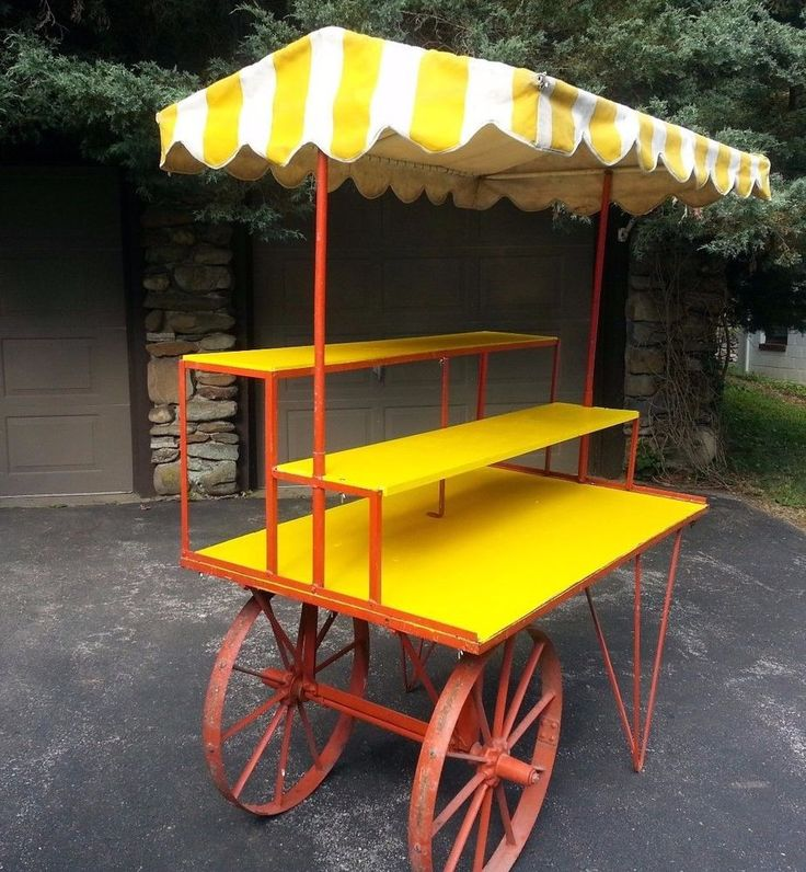 Vintage  Large Metal Flower Cart With Cabana Top