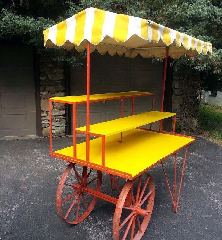 Vintage Large Metal Flower Cart With Cabana Top