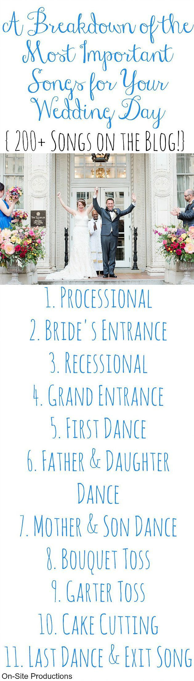 It's all in the details, and your music is going to set the tone for the rest of the night.  This is a breakdown of the most important songs for your wedding AND 200+ songs for each!