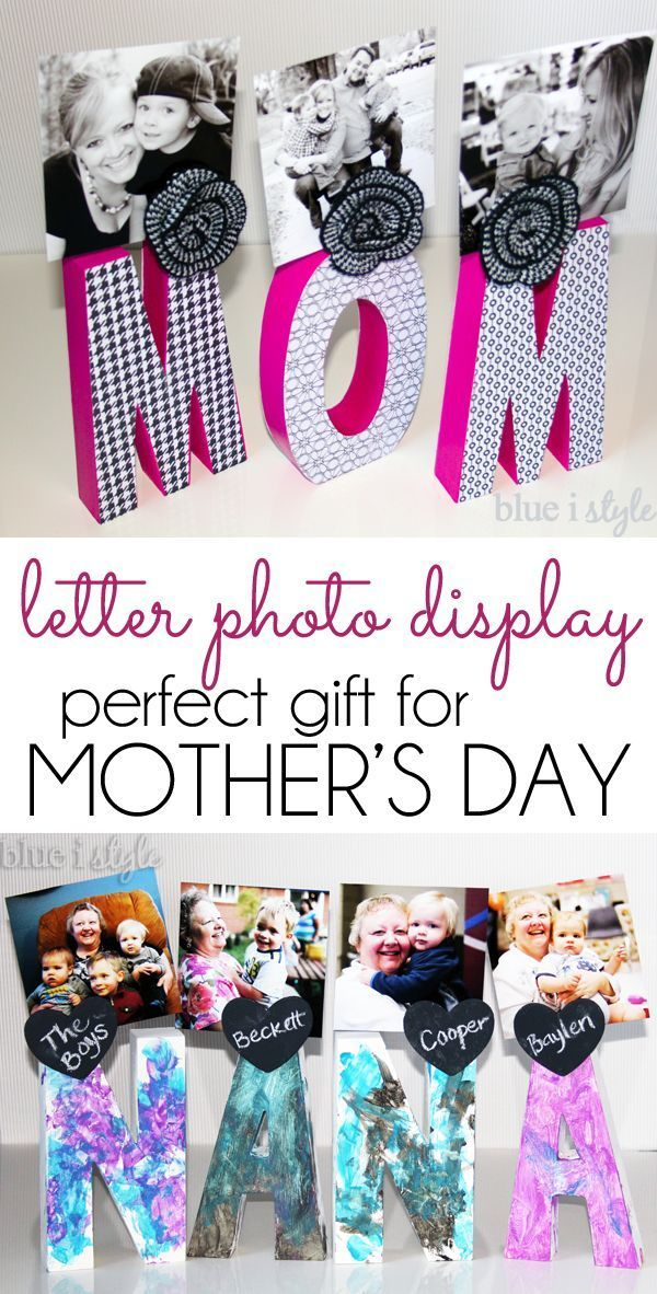 MAKES A PERFECT GIFT! Create a letter photo display for that special mom or grandma in your life this Mother's Day. This project can be easily personalized, and it's also fun and easy to get the kids involved!