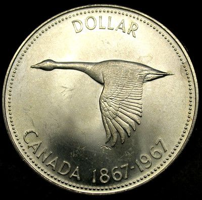 1967 CANADA 1 Dollar Large CANADIAN GOOSE One Year Only SILVER DOLLAR Coin NICE!