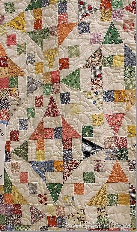 "Similar to Fons & Porter's ""Aunt Gracie's Garden.""  Blog post (http://sweetcottagedreams.blogspot.com/2014/09/beautiful-stitches-in-pacific-northwest.html) states that it is ""54-40 or Fight"" block, combined with Churn Dash.  F&P pattern uses Shoo Fly in place of Churn Dash.  Also similar to ""Faceted Jewels"" pattern, looks like ""Silly Goose Mystery"" quilt [2013] done in 30s instead of blues. http://sillygoosequilts.blogspot.com/p/mystery-quilt.html"