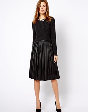 Warehouse Leather Look Pleated Midi Skirt