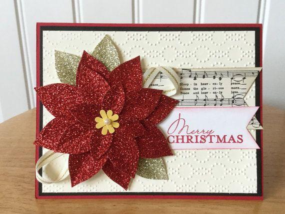 Flor de Pascua brillo tarjeta de Navidad hecha a por treehouse05