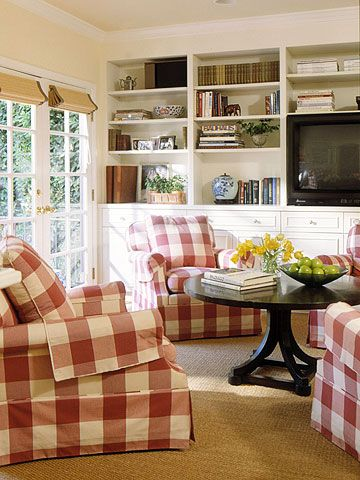 Buffalo-check armchairs paired with built-in bookshelves can make any room not only look cool but also functional.