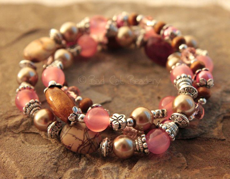 Pink Bracelet Brown Beaded Stretch Bracelet Silver Jasper Stone. $32.95, via Etsy.
