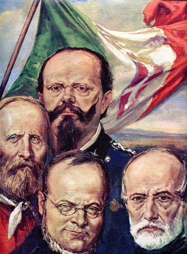 """I """"Padri della Patria"""" Vittorio Emanuele II, Giuseppe Garibaldi, Camillo Benso di Cavour e Giuseppe Mazzini, raffigurati dal pittore Walter Molino in una ..."""