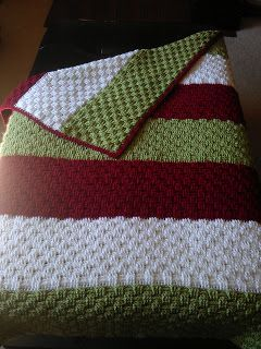 Tiny Pushes: A Carolina Crochet Project-basketweave blanket -link to free stitch pattern provided-makes a thick warm blanket.