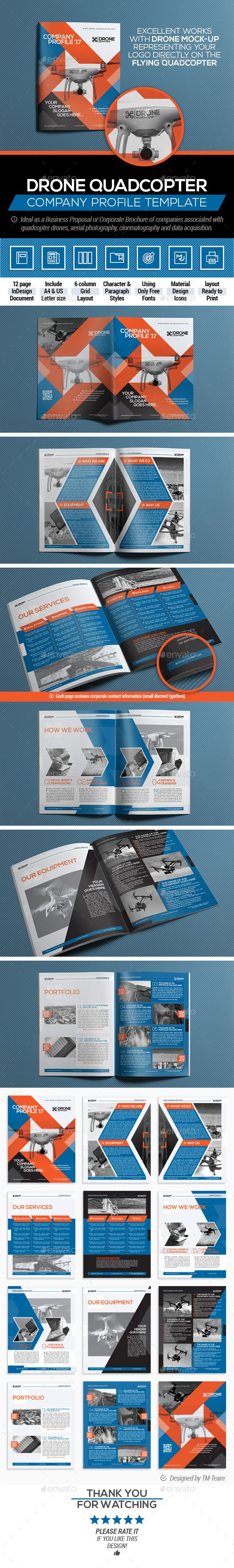 Drone Quadcopter - Company Profile   Business Proposal Template InDesign INDD