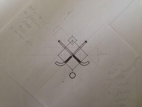 CØNTADØR TATTOOS Dibujo crudo -- palos de hockey y geometria
