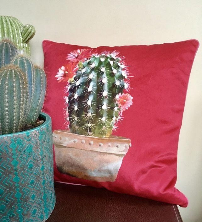 Velvet Cactus cushion. Red velvet pillow. Valentine gift idea. Free UK P and P. £32.00