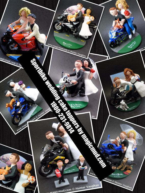 Motorcycle Wedding Cake Toppers, Bride and Groom on Ducati Sportbike Motorcycle, Wedding Cake Topper,  Motorcycle Riders Wedding Cake Topper    Honda, Suzuki, Kawasaki, Ducati, BMW, Harley, Yamaha or Triumph motorcycle Sportbike Wedding Cake Topper custom created for you! Perfect for the marriage of a motorcycle riding Groom and his Bride!    $235 #magicmud 1 800 231 9814 www.magicmud.com