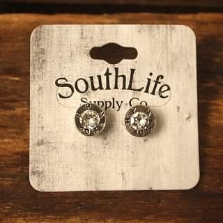 SOUTHLIFE SUPPLY CO. REMINGTON BULLET STUD EARRINGS, TRADITIONAL SILVER WITH CRYSTAL