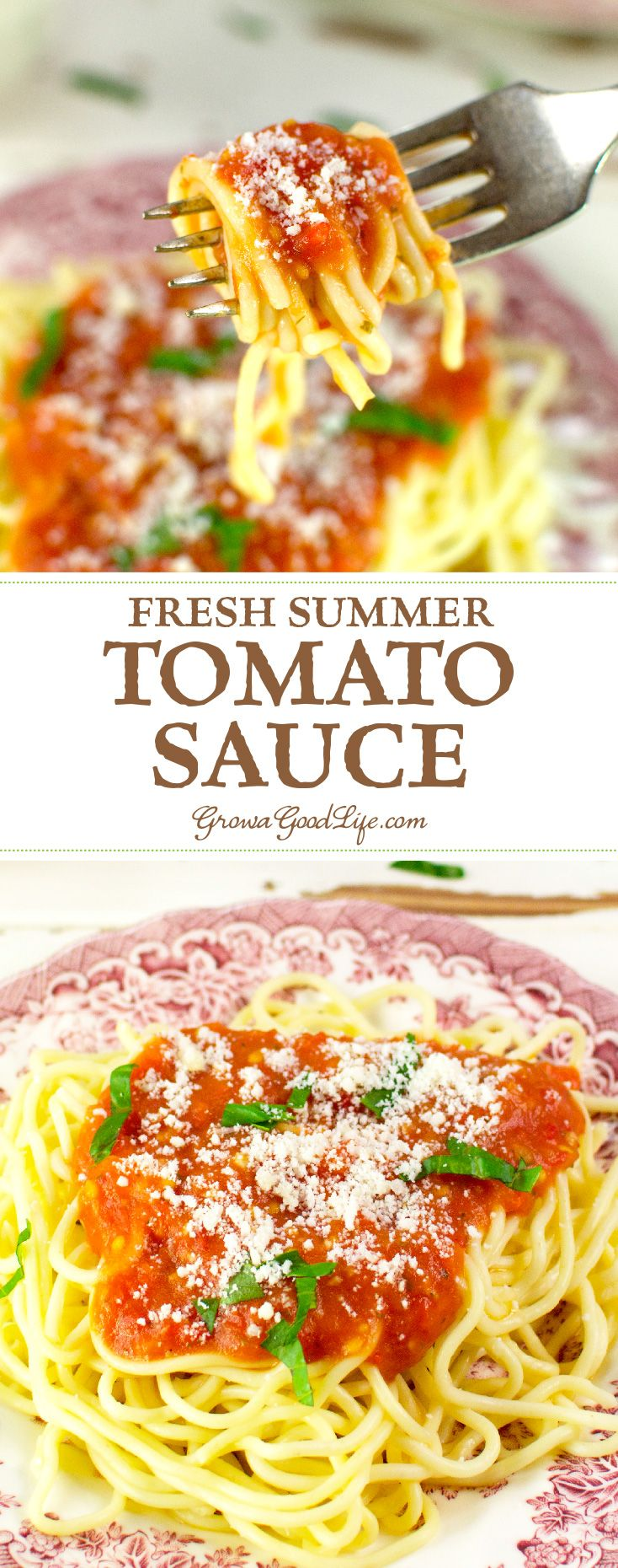 This summer tomato sauce recipe combines vine-ripened tomatoes with onions, garlic and fresh Italian herbs. It is a classic marinara sauce that comes together in about an hour.
