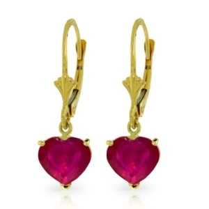 14k Yellow Gold Natural Heart-shaped Ruby Dangle Earrings